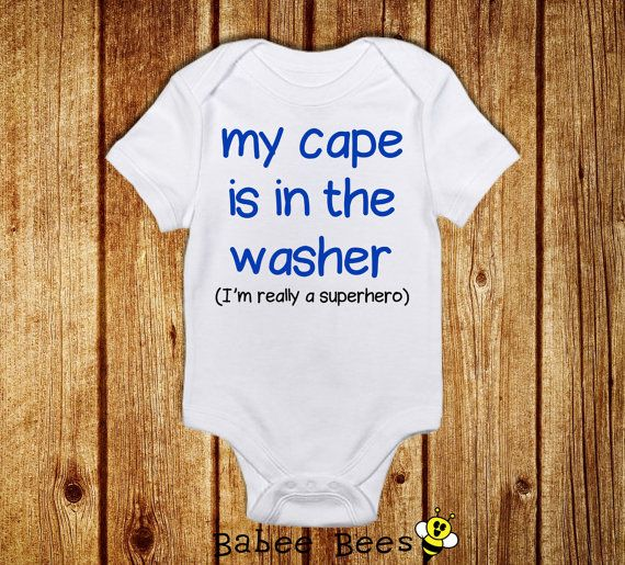 Cape is in the Washer, Funny Baby Bodysuit, Funny Baby Boy Clothes, Superhero Baby Shower, Funny Baby Clothes, Nerdy Baby Shower Gift, Comic