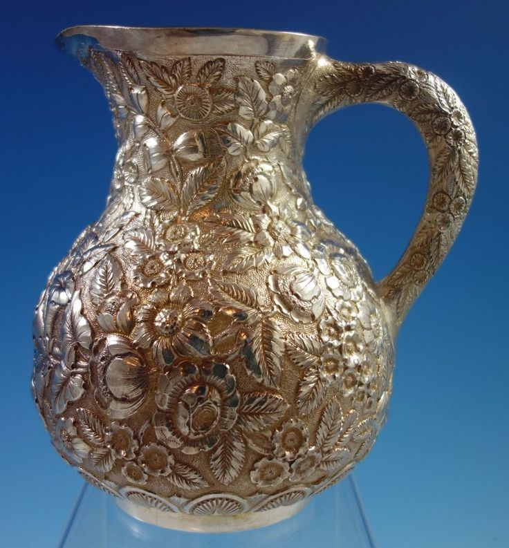 Repousse by Tiffany & Co Sterling Silver Water Pitcher w/Repoussed Flowers #1653  | eBay