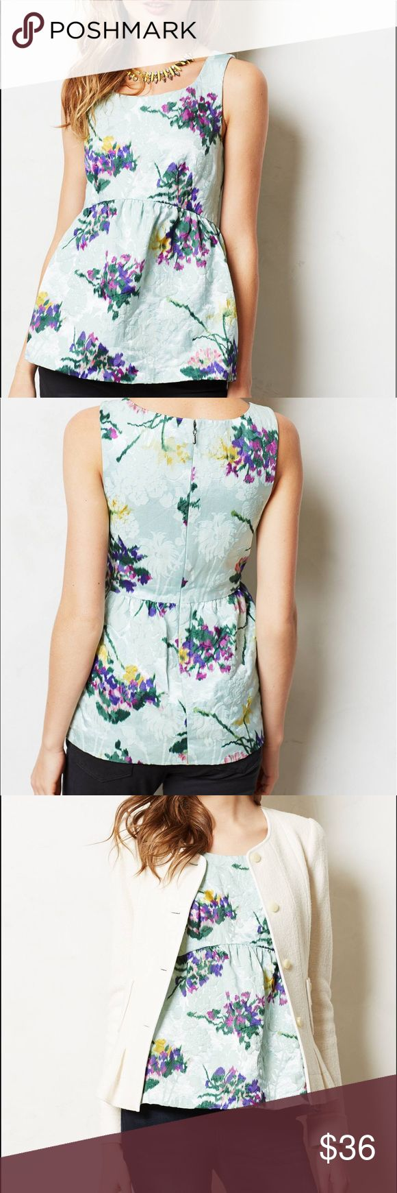 Anthropologie Leifsdotter Brocade Peplum Top Gorgeous, never worn Anthro top that's perfect for a special occasion or a night out! Beautiful brocade floral pattern. The top is lined, with bra strap holders, and a hidden back zip. Anthropologie Tops