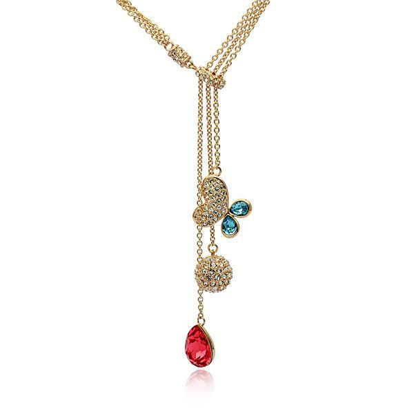 Мода бабочка ожерелье в китай ebay с 18 К позолоченный цепь свитера для женщин