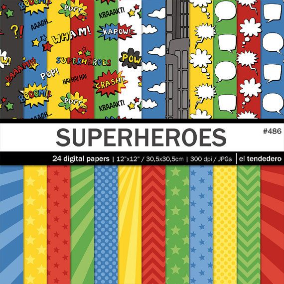 Superhero Digital Paper Pack Superheroes With Comic By
