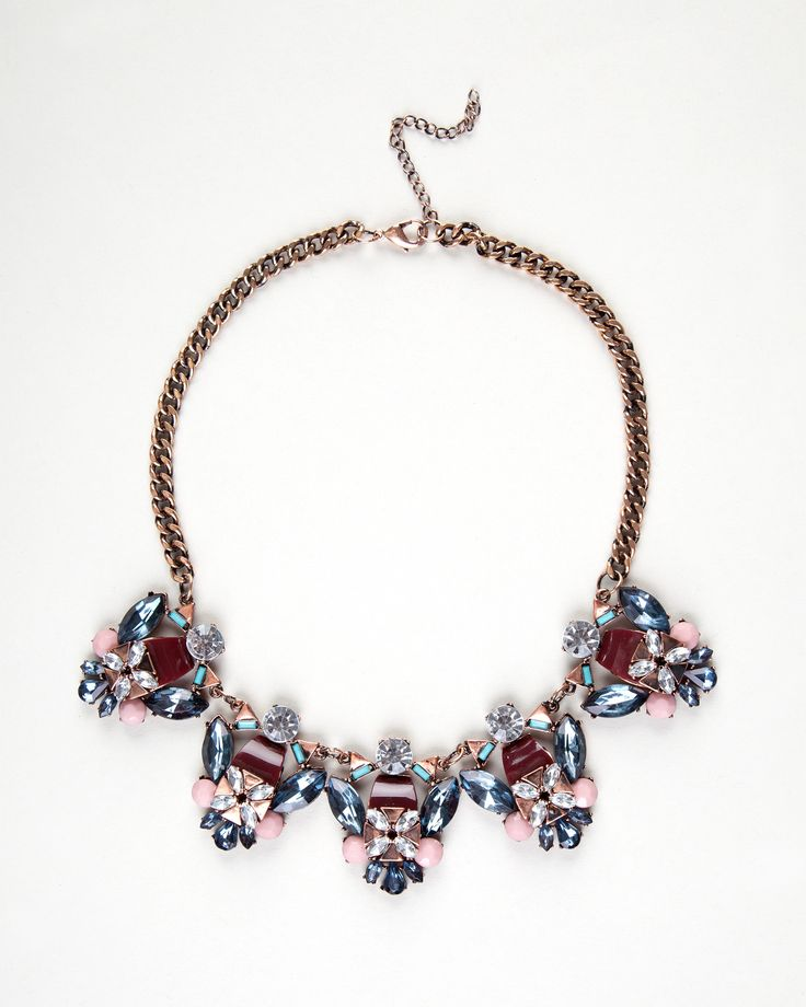 Strass detail necklace http://bit.ly/1uY61yX Collar piedras flor http://bit.ly/1sz58Hb