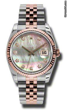Rolex Datejust Black Mother of Pearl Dial Automatic Pink Gold and Steel Ladies Watch 116231BKMDJ $13,120 #hologram #watches #trend
