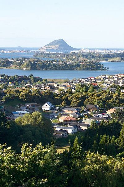 Tauranga, with Mt Maunganui in the background