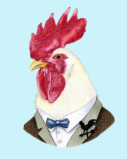 Rooster print 8x10 di berkleyillustration su Etsy, $18.00