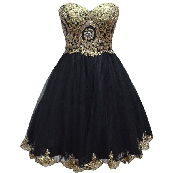 Lemai Tulle Little Black Short Gold Lace Corset Prom Homecoming... ($100) ❤ liked on Polyvore featuring dresses, homecoming dresses, prom dresses, lace dress, short lace dress and gold dress
