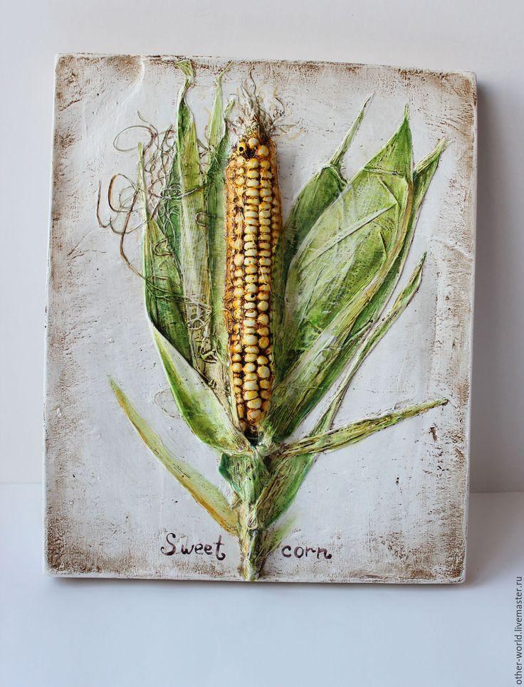 """Gesso panel """"Sweet corn"""". Панно настенное. Панно ручной работы. - Гипсовое панно"""