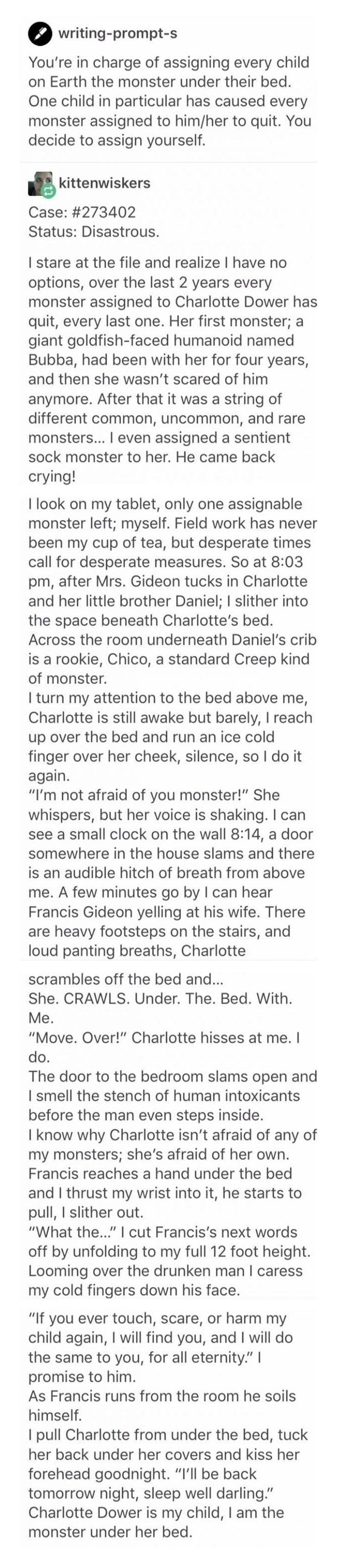 I'm not afraid of you, monster. [Long read] http://ibeebz.com