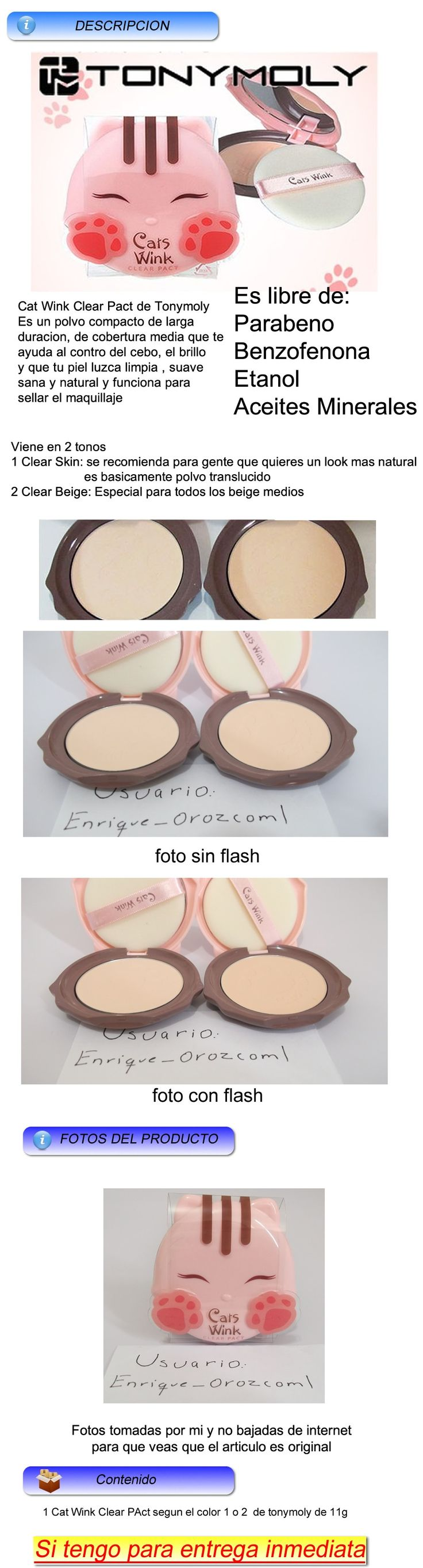 Tonymoly Cats Wink Clear Pact Polvo Compacto Maquillaje - $ 199.00 en MercadoLibre
