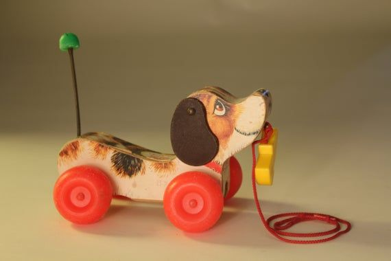 Vintage fisher price little snoopy 1968 pull dog toy retro nursery decor gift puppy