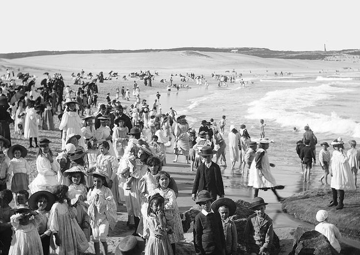 Bondi Beach, NSW Australia - a photo from circa 1900 from The Powerhouse Museum. The world's first Surf Life Saving club opened here in 1906.