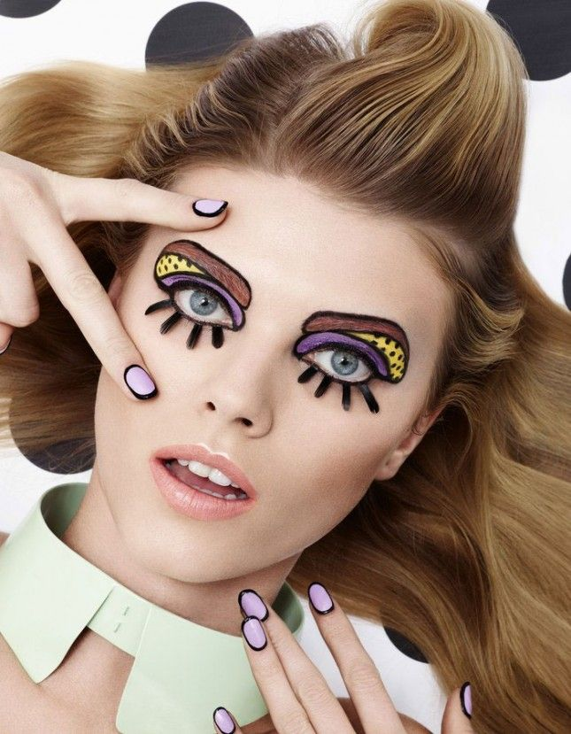 Dig the doll-like outlines of the nails + eye makeup on this look.