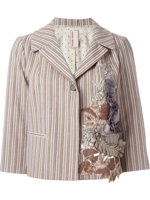 Купить Antonio Marras полосатый пиджак с аппликацией.