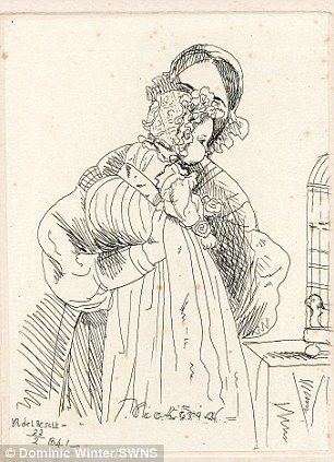Sketch by Queen Victoria of herself with her baby daughter