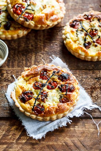 Slow-roasted tomato and cheese quiches