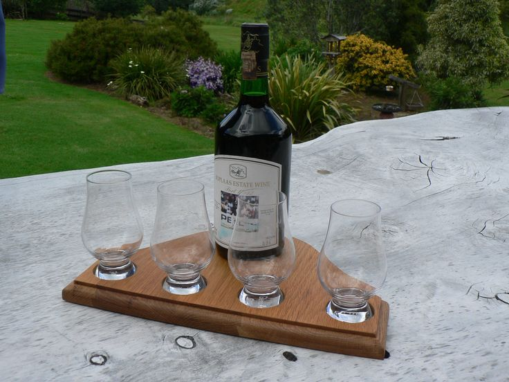 Reclaimed Oak Whisky Glass and Bottle Display Stand. Perfect for whisky tasting or as a well crafted display for your Glencairn glasses. Ayke & WhatNot