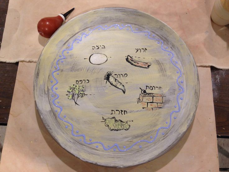 "In my never-ending search for my best Seder Plate design, this seems to be as close to the pot of gold at the end of the rainbow as I've come. I made three! About 16"" diameter."