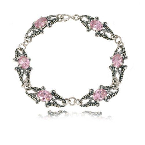 """Sterling Silver Marcasite Faceted Pink Color Glass Bracelet, 7.5"""" Amazon Curated Collection. $89.00. Marcasite can appear iridescent in the light.. Save 76% Off!"""