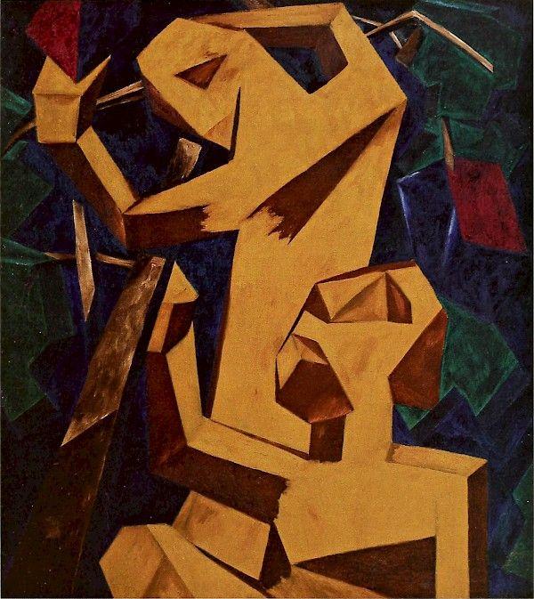 Natalia Goncharova Sergeevna (1881-1962) was een Russische avant-garde schilder. Nadat een aantal studenten waren verdreven uit de kunst opleiding wegens het nabootsen van de hedendaagse stijl van de Europese modernisme, Goncharova , Larionov, Robert Falk , Pjotr Kontsjalovski , Alexander Kuprin , Ilya Mashkov en anderen vormden Moskou's eerste radicale onafhankelijke groep, de Jack of Diamonds. Zij was een lid van de Der Blaue Reiter avant-garde groep uit de oprichting in 1911.