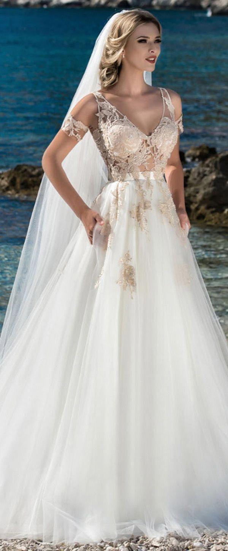 Marvelous Tulle Vneck Neckline Seethrough Bodice Aline Wedding Dress With Lace Appliques Pockets Amazingbeddings: Linen Line Wedding Dress At Websimilar.org