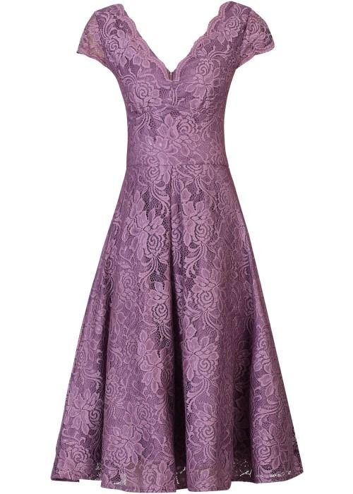 Joli Moi Lana lace 1950s swing dress mauve purple jurk paars