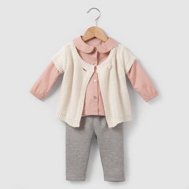 Conjunto blusa, colete e calças de fato de treino, 1 mês-3 anos