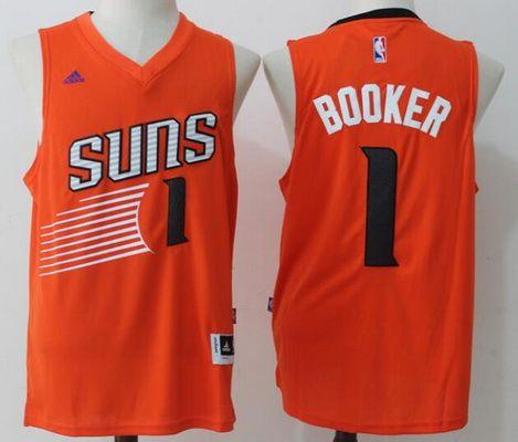 $21 Phoenix Suns #1 Devin Booker Orange Revolution 30 Swingman NBA adidas Men's Stitched Jersey