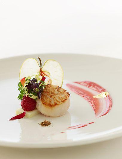 Burj Al Arab - Scallop Raspberry - love the transparent apple slice.