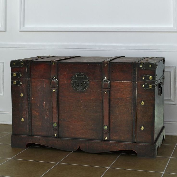 Wooden Treasure Chest Furniture Home Vintage Travel Chunk Large Storage Brown