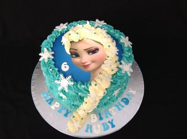 Frozen Elsa Themed Edible Image Cake decorated by Coast Cakes Ltd