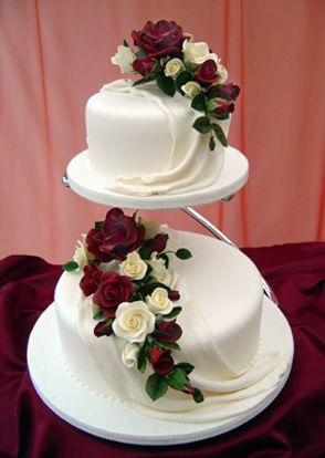 burgundy and cream wedding cakes | Designer Cakes - Wedding Cakes with stands in South Wales