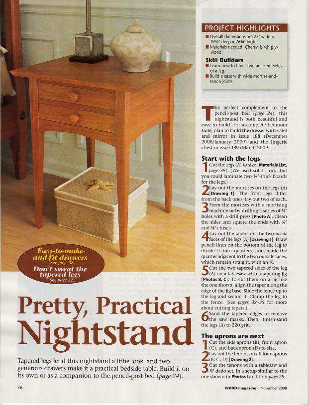 DIY Pencil Post Shaker-Style Bed Nightstand plan