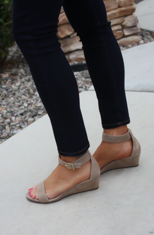 A small wedge sandal is perfect for a dressy casual touch.