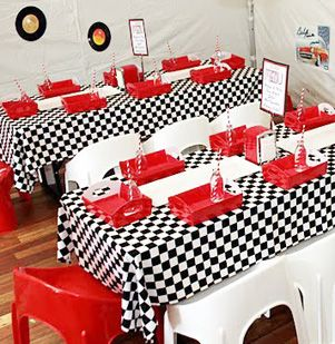 Maybe tables set up similar 50s diner pinterest - Rock and roll theme party decorations ...