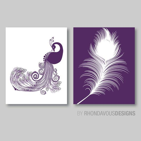 Abstract Modern Peacock and Feather Print by RhondavousDesigns2