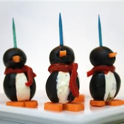 Cream Cheese PenguinsCheese Penguins, Red Peppers, Black Olive, So Cute, Parties Appetizers, Healthy Food, Christmas Buffets, Chees Penguins, Cream Cheeses