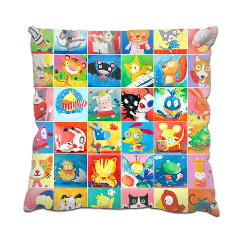 cute characters pattern Cushion by luciasalemi at zippi.co.uk