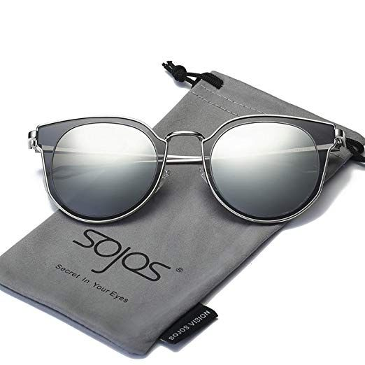 d657a11ab3c8 Amazon.com  SOJOS Fashion Polarized Sunglasses for Women UV400 Mirrored  Lens SJ1057 with Gold