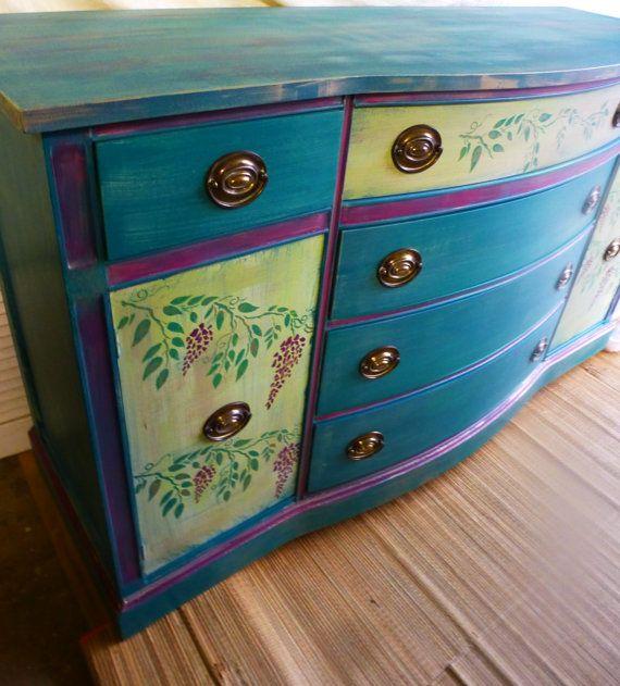 Wisteria Credenza Vintage Poppy Cottage Custom by poppycottage, $795.00