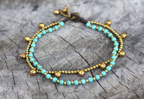 Bracelet de cheville turquoise chaîne couche laiton par brasslady