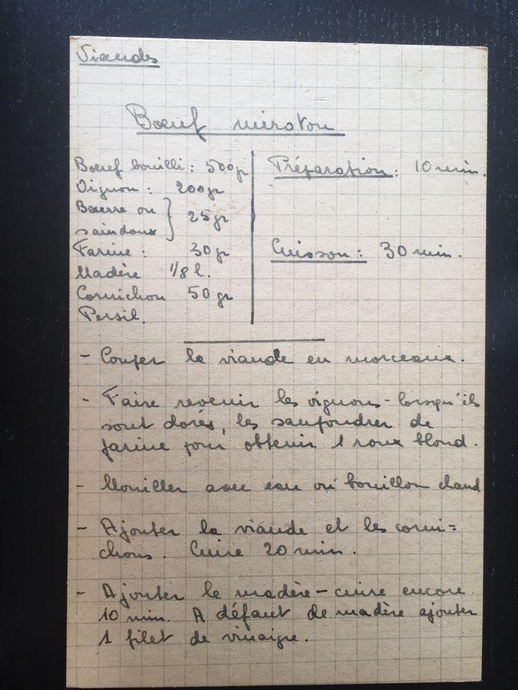 Boeuf miroton - recettes de famille - cahiers de cuisine familiale - Viandes