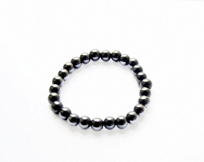 MEN'S Hematite Beaded Bracelet, Gemstone 8mm Beads, Stretch Jewelry, unisex #oyaikubijou #Beaded