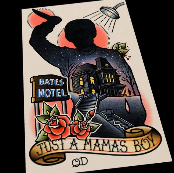 Image of Bates Motel Psycho Tattoo Art Print by Quyen Dinh