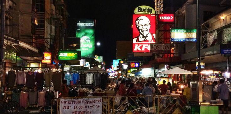 Kao San, Bangkok's backpacker hub by night and day. Thailand, backpacking, southeast asia