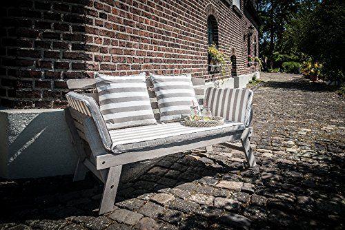 Greemotion Gartenbank Hawaii Aus Holz Inkl Auflagen Outdoor Gartensofa Mit Klappbarer Armlehne Fur Garten Terrasse Balkon Multifunktionsbank Tuin Bank Ing