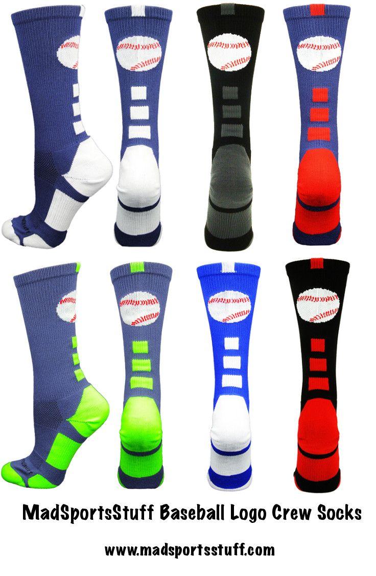 MadSportsStuff Baseball Logo Crew Socks in classic baseball team colors.  Great gift for your favorite baseball star! #MadSportsStuff