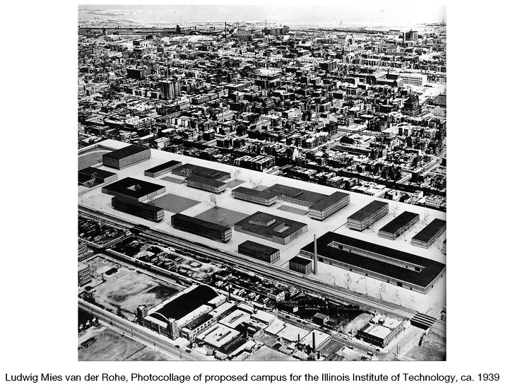 Ludwig Mies van der Rohe, Photocollage of proposed campus for the Illinois Institute of Technology, ca. 1939