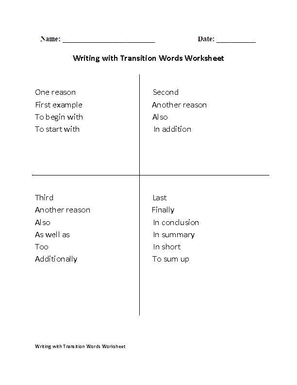 Transitional K Worksheets : Ideas about transition words worksheet on pinterest