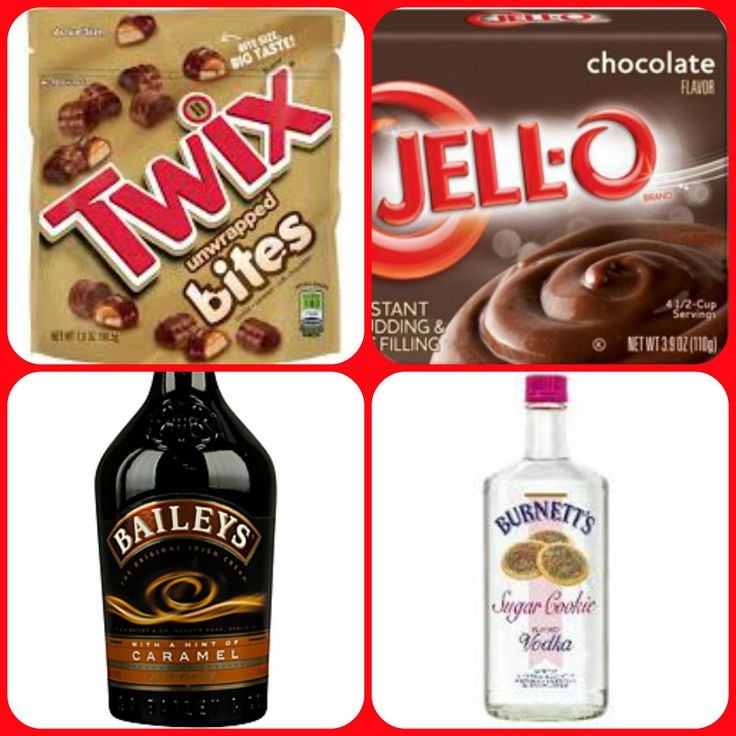 Twix Pudding Shots  1 small Pkg.chocolate instant pudding ¾ Cup Milk 1/2 Cup Baileys Caramel Irish Cream 1/4 Cup Burnettes Sugar cookie vodka Twix bites 8oz tub Cool Whip  Directions 1. Whisk together the milk, liquor, and instant pudding mix in a bowl until combined. 2. Add cool whip a little at a time with whisk. 3.Spoon the pudding mixture into 1 or 2 ounce cups with lids. 4. Place 1 twix bite in each cup then put in freezer for at least 2 hours