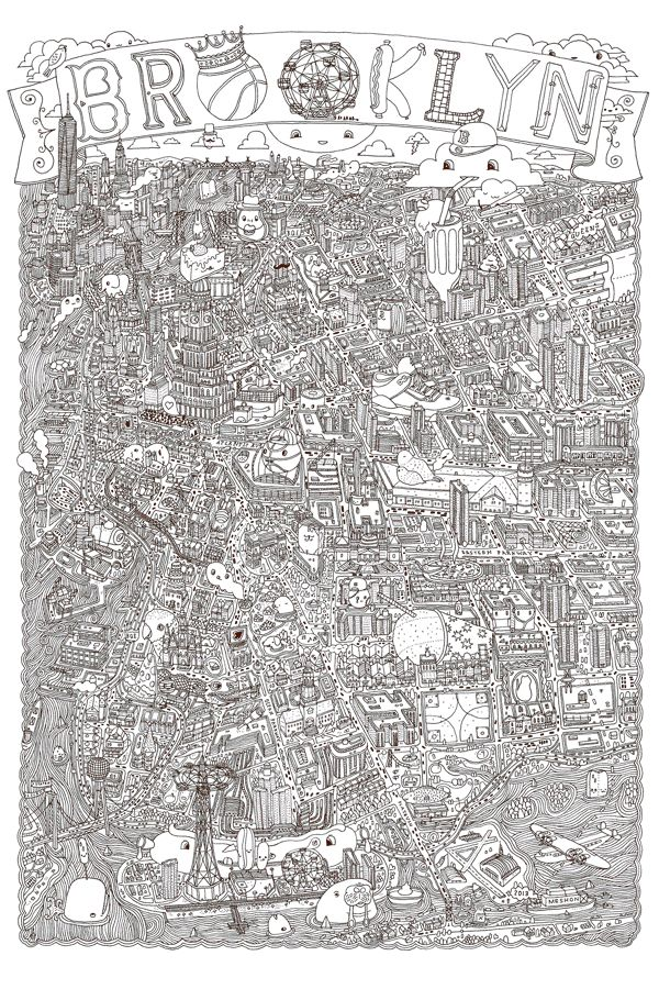 BROOKLYN illustrated map! by Aaron Meshon, via Behance